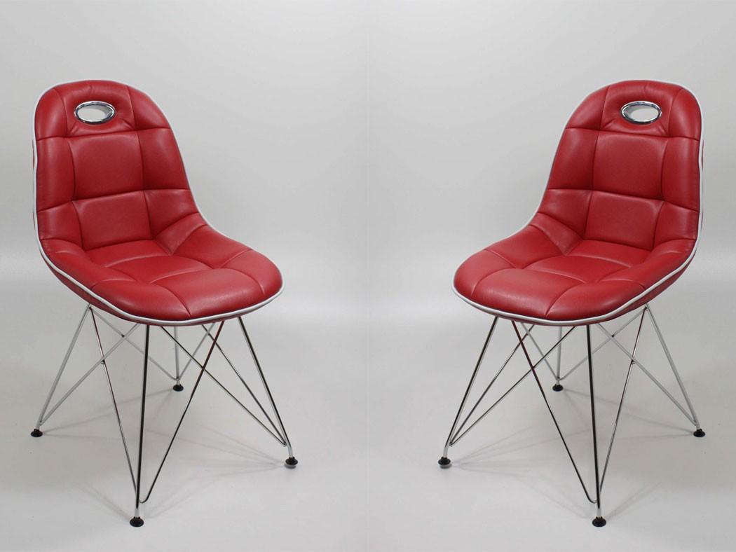 Stuhlgruppe anabel verchromt kunstleder rot designerstuhl for Schalenstuhl esszimmer