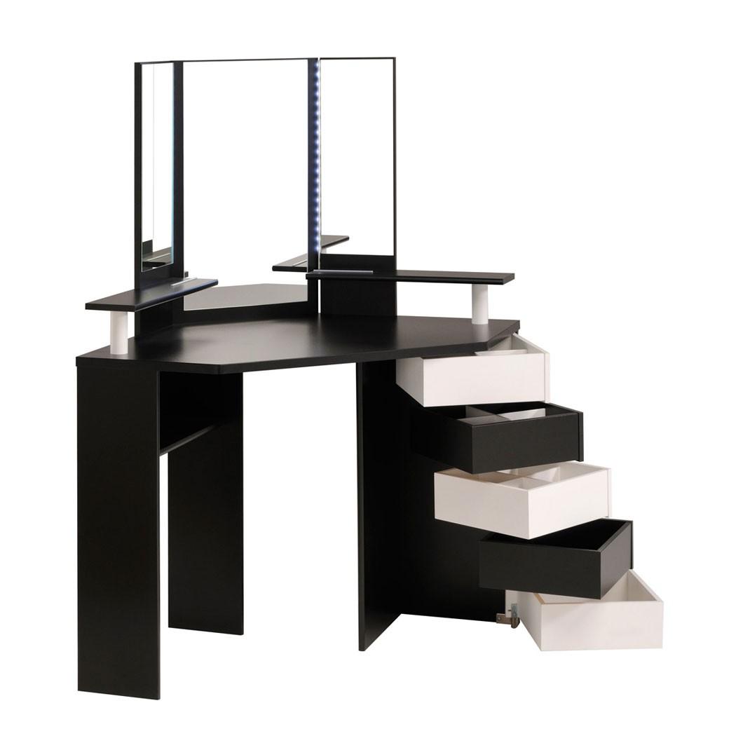 schminktisch volana 2 schwarz weiss frisierhocker spiegel. Black Bedroom Furniture Sets. Home Design Ideas
