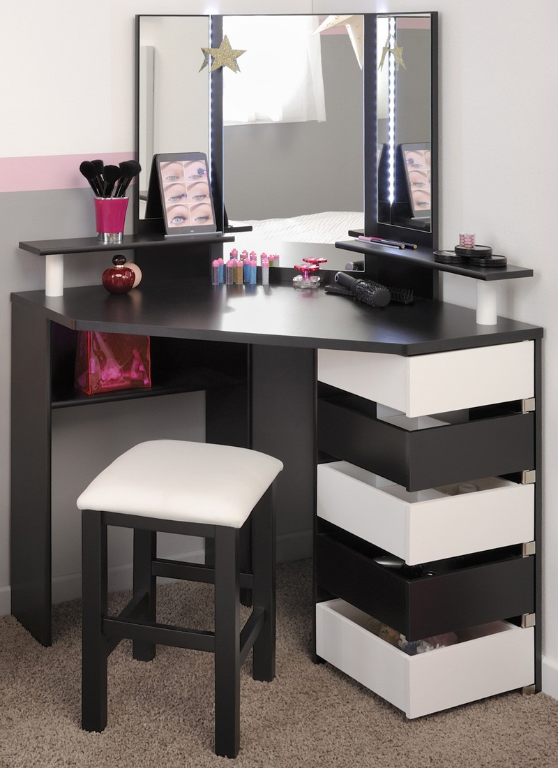 schminktisch volana 2 schwarz weiss frisierhocker spiegel frisiertisch. Black Bedroom Furniture Sets. Home Design Ideas
