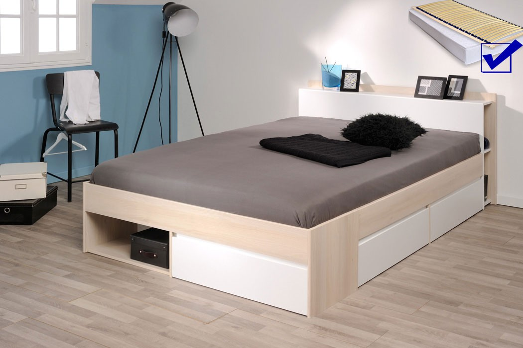 jugendbett morris 5 akazie 140x200 lattenrost matratze singlebett wohnbereiche schlafzimmer. Black Bedroom Furniture Sets. Home Design Ideas