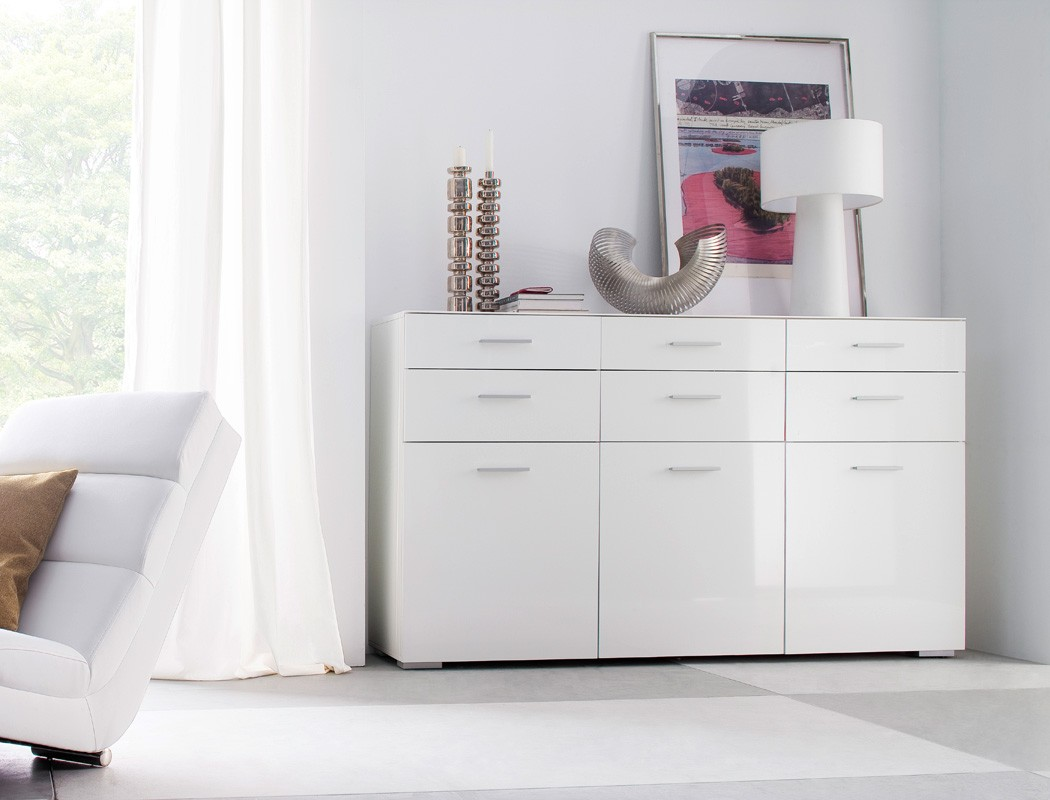 sideboard 180x110x40 wei hochglanz anrichte schrank esszimmer wohnzimmer paskal ebay. Black Bedroom Furniture Sets. Home Design Ideas