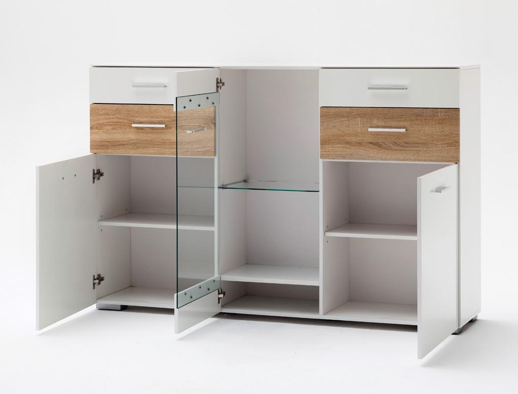 highboard paskal 169x110x40 cm wei hochglanz sideboard schrank vitrine wohnbereiche esszimmer. Black Bedroom Furniture Sets. Home Design Ideas