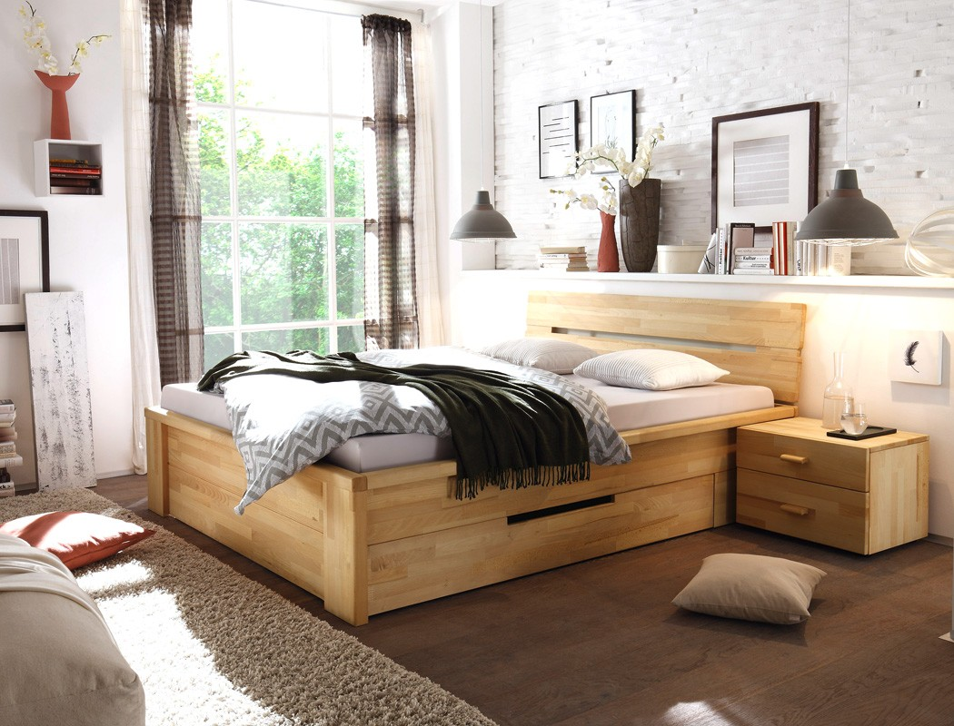 massivholzbett bett 140x200 kernbuche ge lt stauraumbett jugendbett caspar ebay. Black Bedroom Furniture Sets. Home Design Ideas