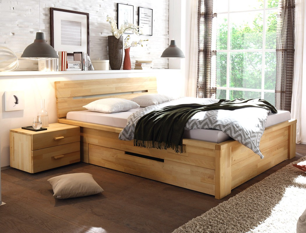 massivholzbett nachttisch kernbuche ge lt stauraumbett holzbett bett caspar ebay. Black Bedroom Furniture Sets. Home Design Ideas
