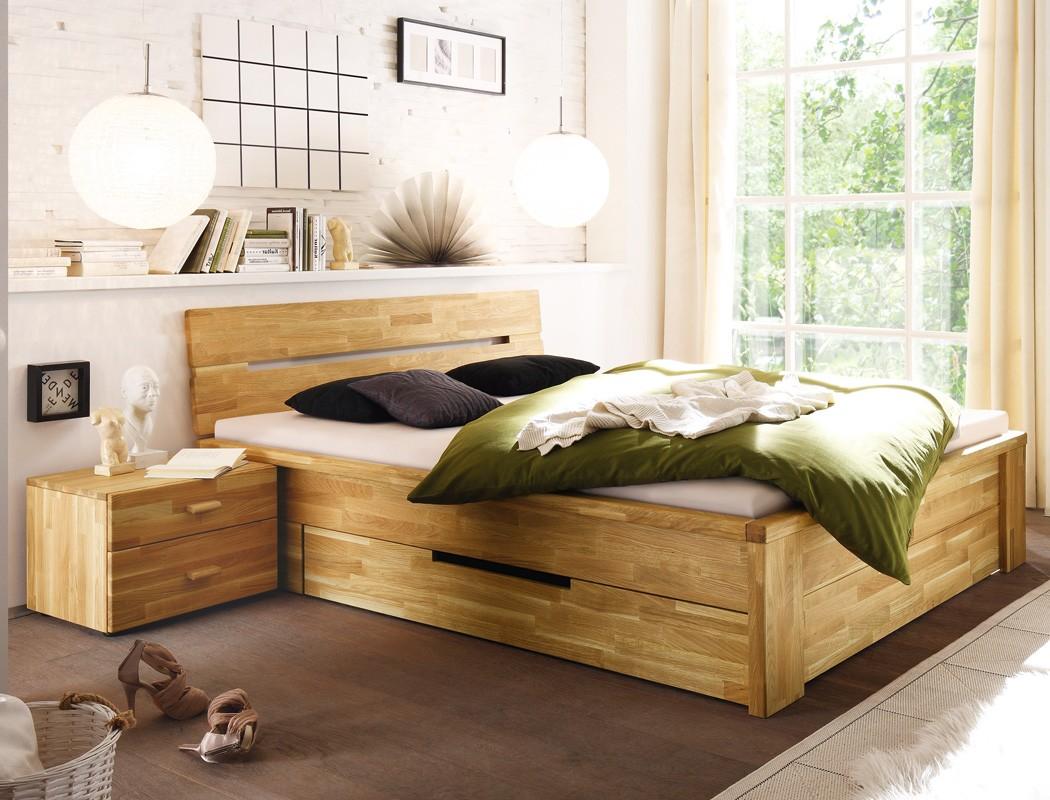 massivholzbett nachttisch wildeiche ge lt stauraumbett holzbett bett caspar ebay. Black Bedroom Furniture Sets. Home Design Ideas