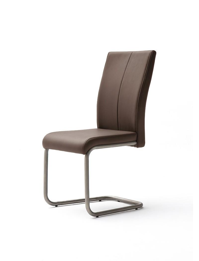 4x schwingstuhl muraco kunstleder braun edelstahl polsterstuhl stuhl wohnbereiche esszimmer. Black Bedroom Furniture Sets. Home Design Ideas