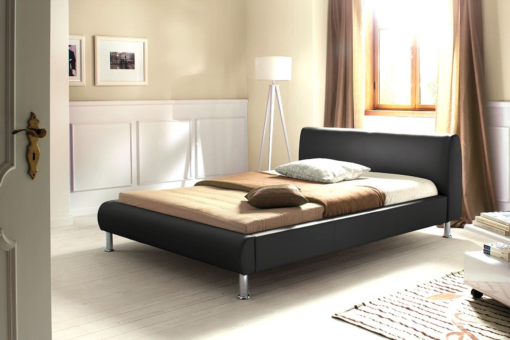 polsterbett bett 140x200 schwarz kunstleder singlebett designerbett mirco ebay. Black Bedroom Furniture Sets. Home Design Ideas