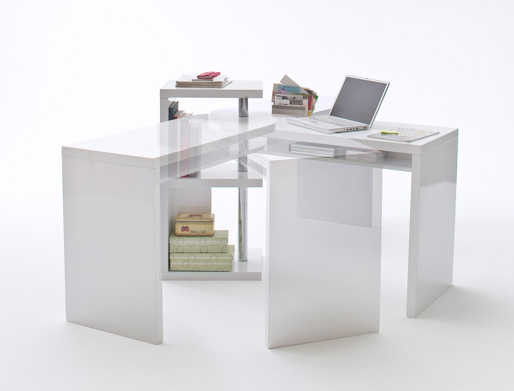 Schreibtisch Mats Weiss Hochglanz Brotisch Computertisch Regal Bro Bild 5