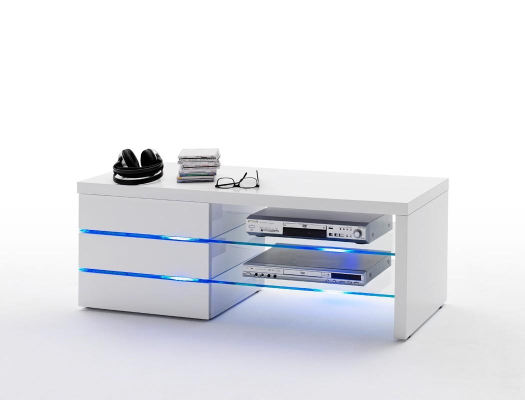... weiß TV-Board TV-Möbel LED Beleuchtung Wohnzimmer TV- & Mediamöbel