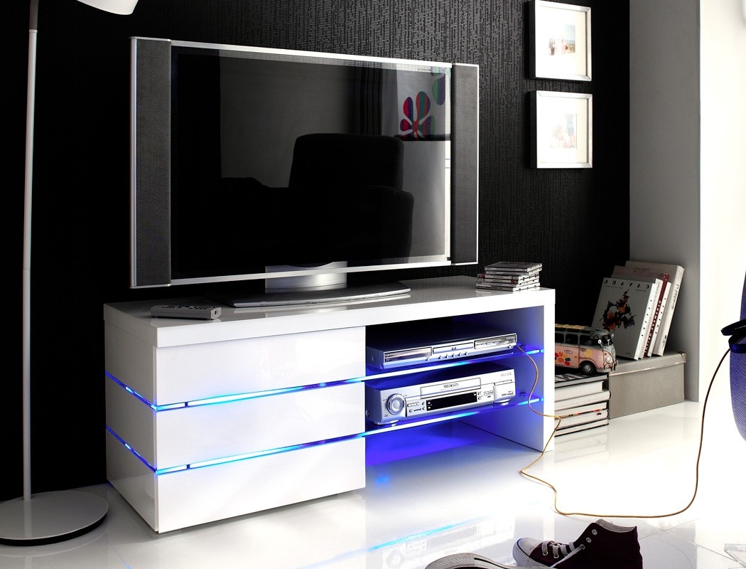 lowboard 110x44x42 cm wei tv board tv m bel tv schrank led beleuchtung sofia ebay. Black Bedroom Furniture Sets. Home Design Ideas