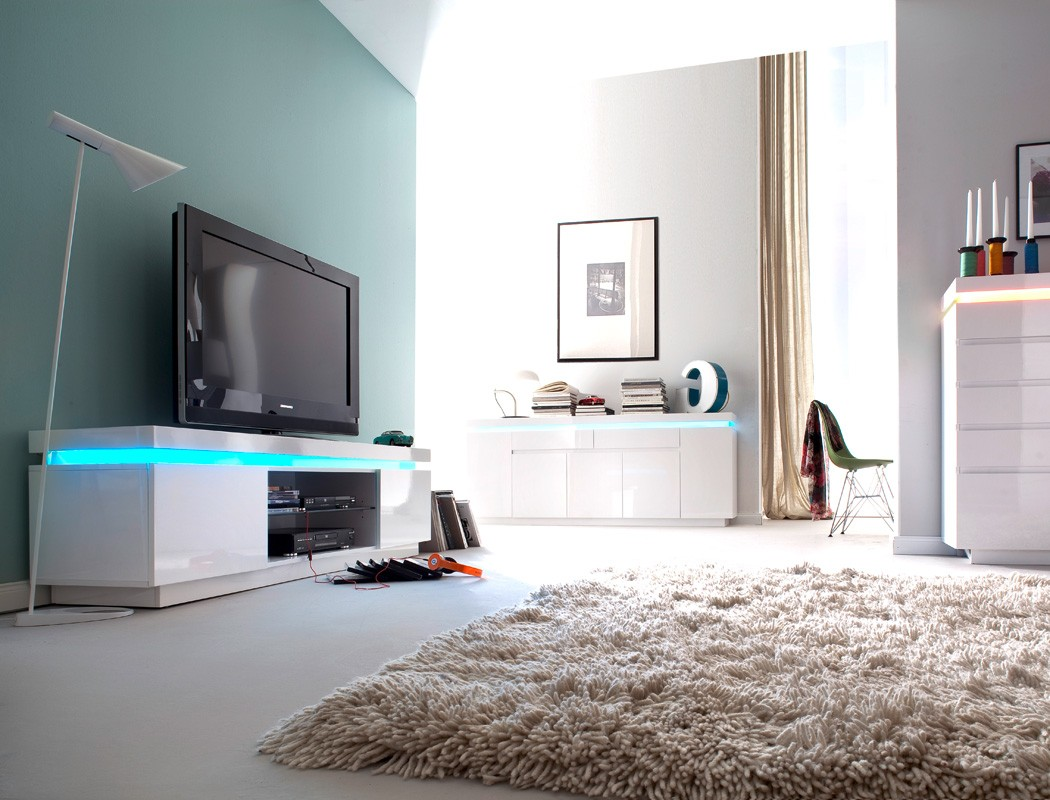 Lowboard Odin 175x49x40 cm Hochglanz weiß TV-Board LED Beleuchtung ...