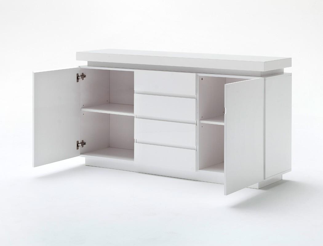 sideboard 150x81x40 cm hochglanz wei led beleuchtung anrichte schrank odin ebay. Black Bedroom Furniture Sets. Home Design Ideas