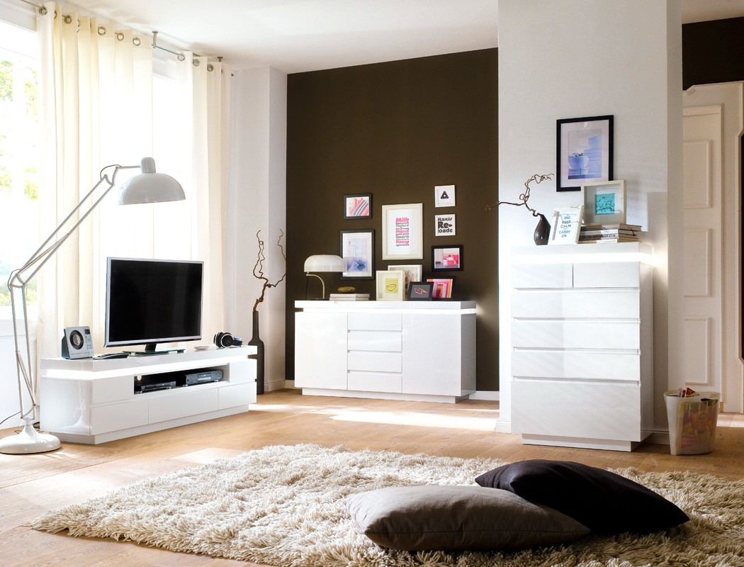 sideboard odin 150x81x40 cm hochglanz wei led beleuchtung anrichte wohnbereiche wohnzimmer. Black Bedroom Furniture Sets. Home Design Ideas
