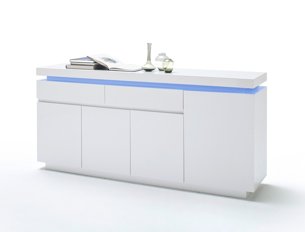 Sideboard 175x81x40 cm hochglanz wei led beleuchtung for Sideboard 260 cm