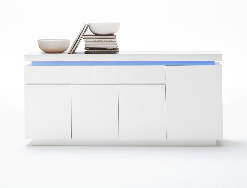 sideboard odin 175x81x40 cm hochglanz wei led beleuchtung anrichte wohnbereiche wohnzimmer. Black Bedroom Furniture Sets. Home Design Ideas
