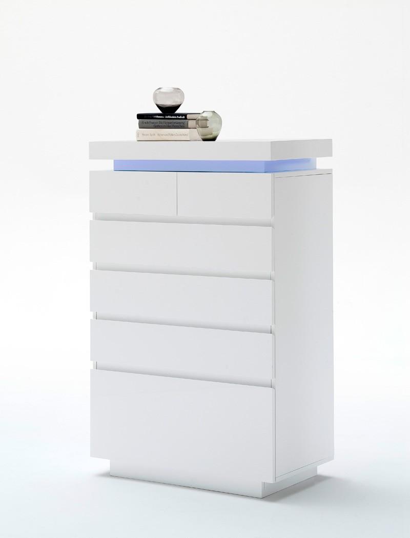 schubkastenkommode odin 73x114x40 cm hochglanz wei led beleuchtung wohnbereiche wohnzimmer. Black Bedroom Furniture Sets. Home Design Ideas