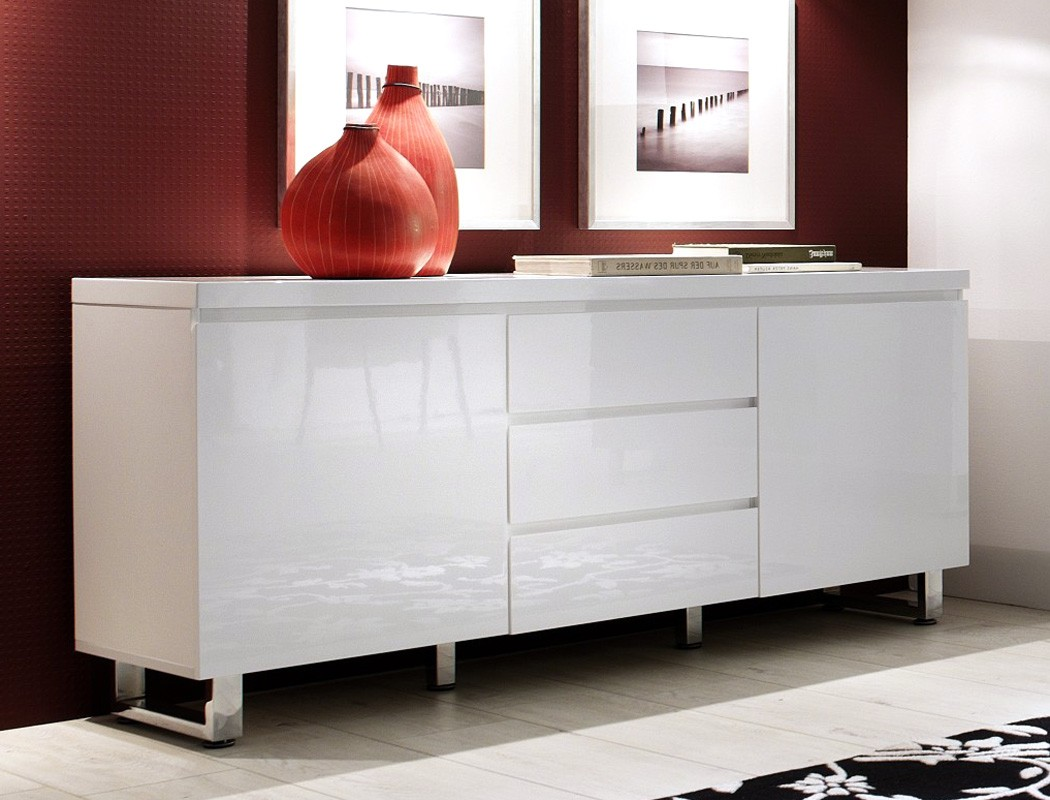 sideboard perth 167x74x42 cm hochglanz wei anrichte schrank esszimmer wohnbereiche esszimmer. Black Bedroom Furniture Sets. Home Design Ideas