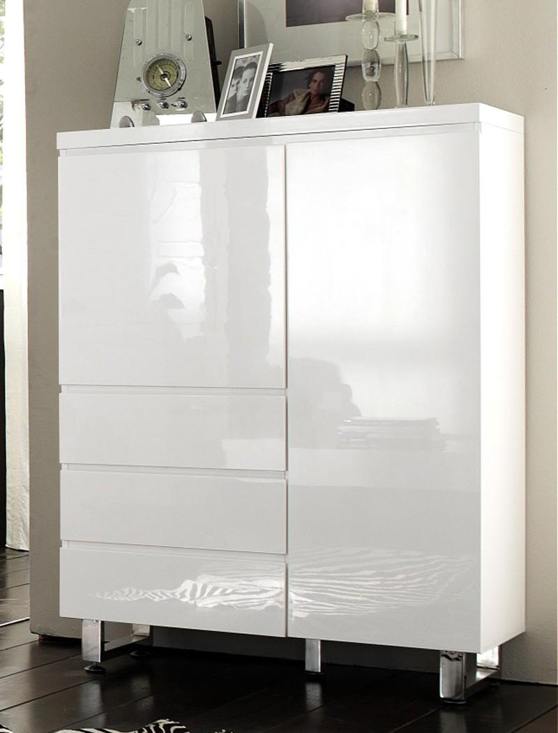 kommode perth 96x132x42 cm hochglanz wei schubkastenkommode schrank wohnbereiche esszimmer. Black Bedroom Furniture Sets. Home Design Ideas