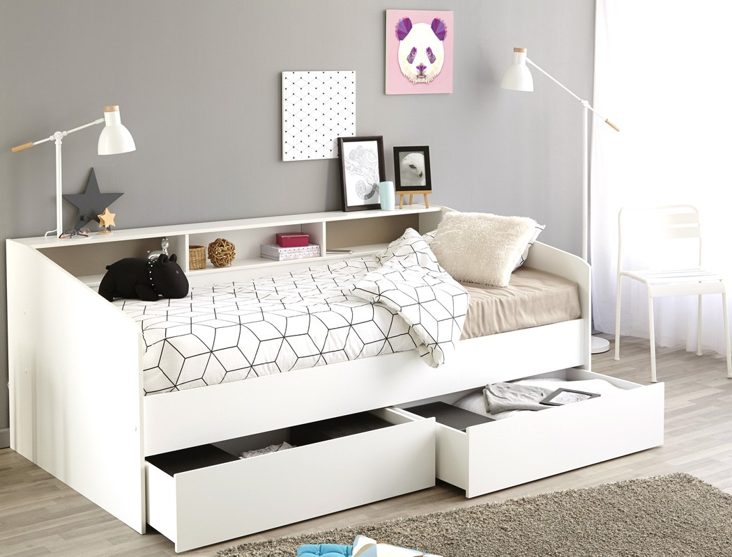 jugendbett bett 90x200 wei kojenbett kinderbett 2x bettkasten selby 1 ebay. Black Bedroom Furniture Sets. Home Design Ideas