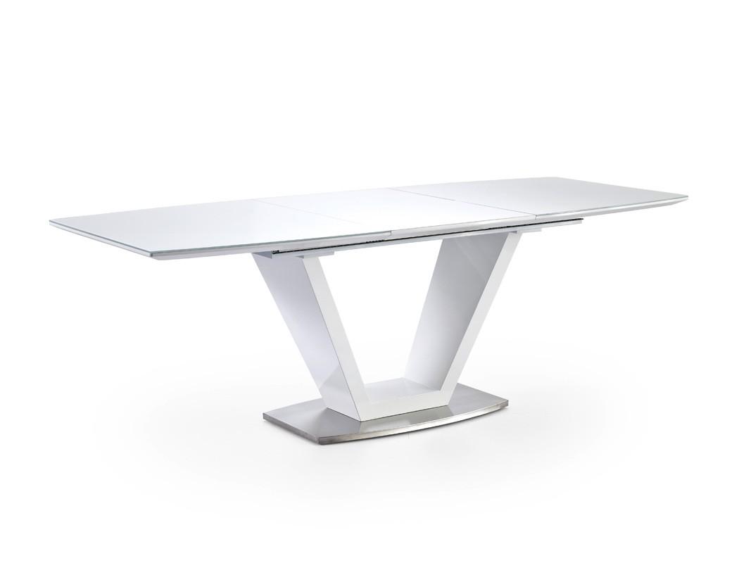Esstisch ilja 160 220 x90x76 cm glastisch hochglanz wei for Garderobe 220 cm