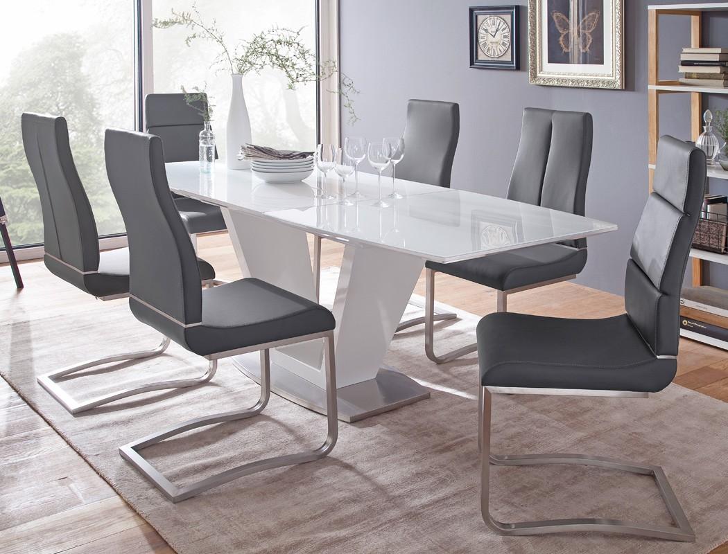 esstisch ilja 160 220 x90x76 cm glastisch hochglanz wei s ulentisch wohnbereiche esszimmer. Black Bedroom Furniture Sets. Home Design Ideas
