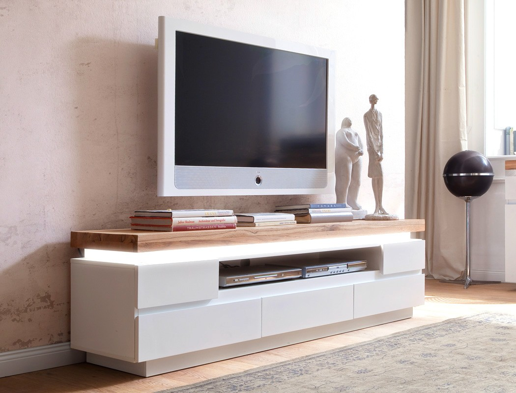 lowboard rosita 175x49x40 cm wei asteiche tv board led beleuchtung wohnbereiche wohnzimmer tv. Black Bedroom Furniture Sets. Home Design Ideas