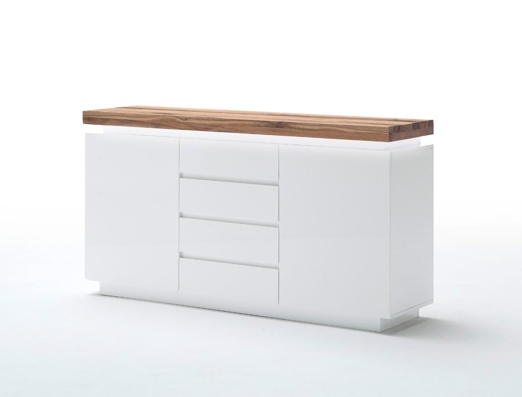 sideboard rosita 150x81x40 cm wei asteiche led beleuchtung anrichte wohnbereiche wohnzimmer. Black Bedroom Furniture Sets. Home Design Ideas