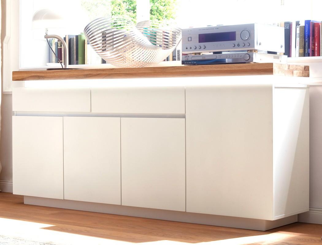 sideboard rosita 175x81x40 cm wei asteiche led beleuchtung anrichte wohnbereiche wohnzimmer. Black Bedroom Furniture Sets. Home Design Ideas