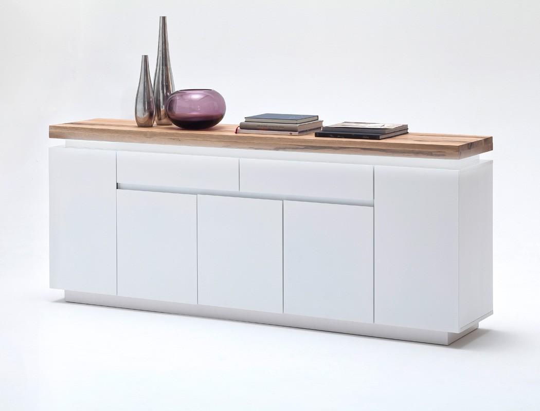 sideboard rosita 200x81x40 cm wei asteiche led beleuchtung anrichte wohnbereiche wohnzimmer. Black Bedroom Furniture Sets. Home Design Ideas
