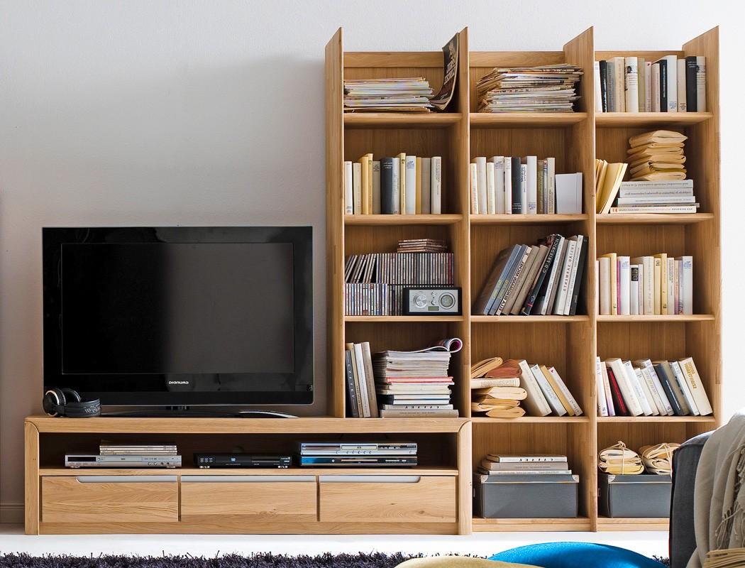 Medienwand pisa 20 eiche bianco massiv lowboard regal wohnwand tv ...