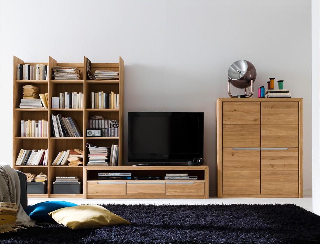 wohnwand pisa 21 eiche bianco massiv lowboard regal schrank medienwand wohnbereiche wohnzimmer. Black Bedroom Furniture Sets. Home Design Ideas