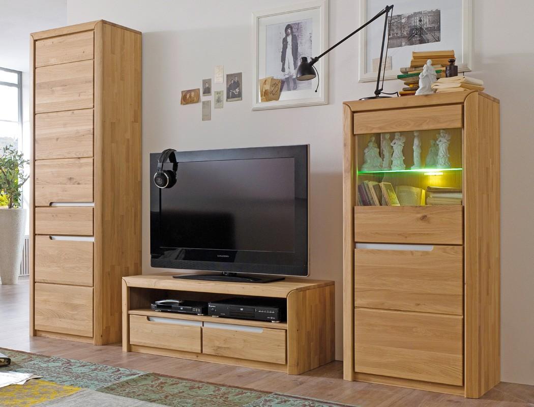 wohnwand eiche massiv bianco 3 teilig medienwand tv wand wohnzimmer pisa 24 ebay. Black Bedroom Furniture Sets. Home Design Ideas
