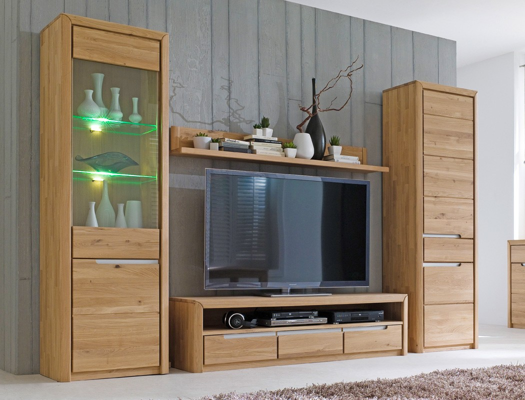 wohnwand eiche massiv bianco 4 teilig medienwand tv wand. Black Bedroom Furniture Sets. Home Design Ideas