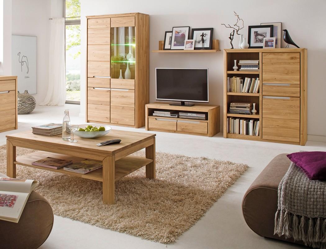 wohnzimmer pisa 40 eiche bianco massiv 5-teilig wohnwand