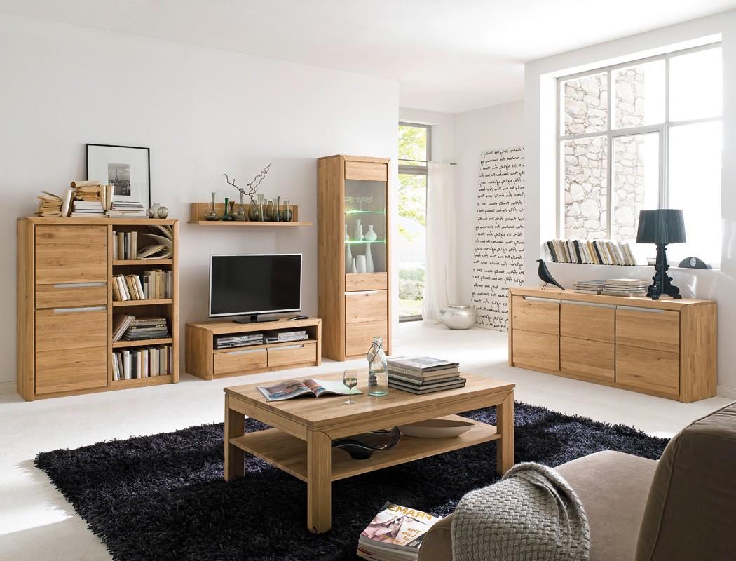 Wohnzimmer pisa 49 eiche bianco massiv 6 teilig wohnwand for Wohnzimmer eiche
