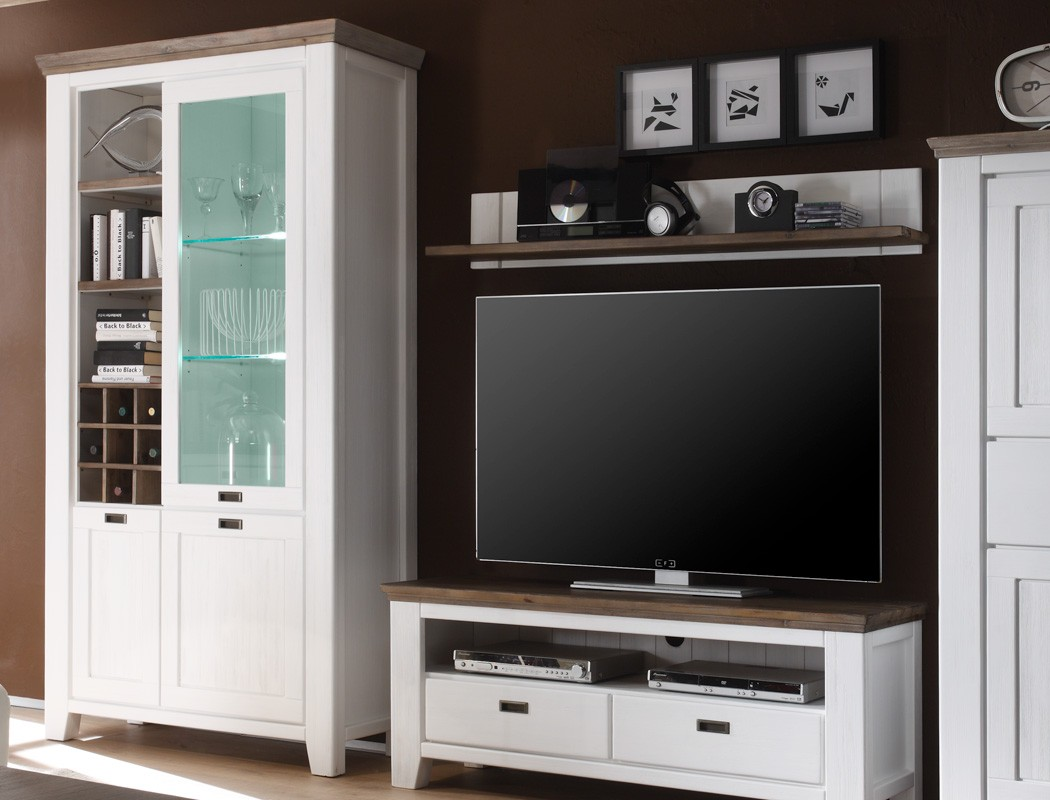 wohnwand akazie wei 4 teilig medienwand tv wand tv m bel. Black Bedroom Furniture Sets. Home Design Ideas