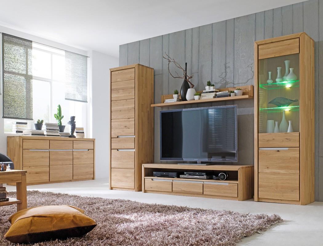wohnzimmer pisa 52 eiche bianco massiv 5 teilig wohnwand. Black Bedroom Furniture Sets. Home Design Ideas