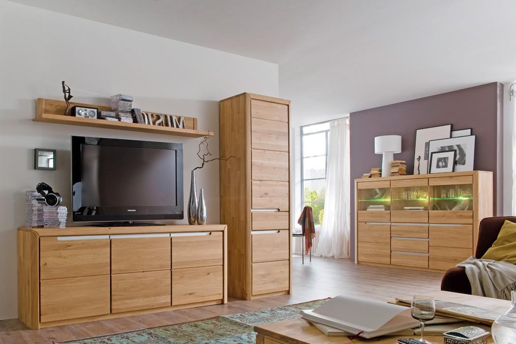 Wohnzimmer pisa 56 eiche bianco massiv 4 teilig wohnwand for Wohnzimmer eiche