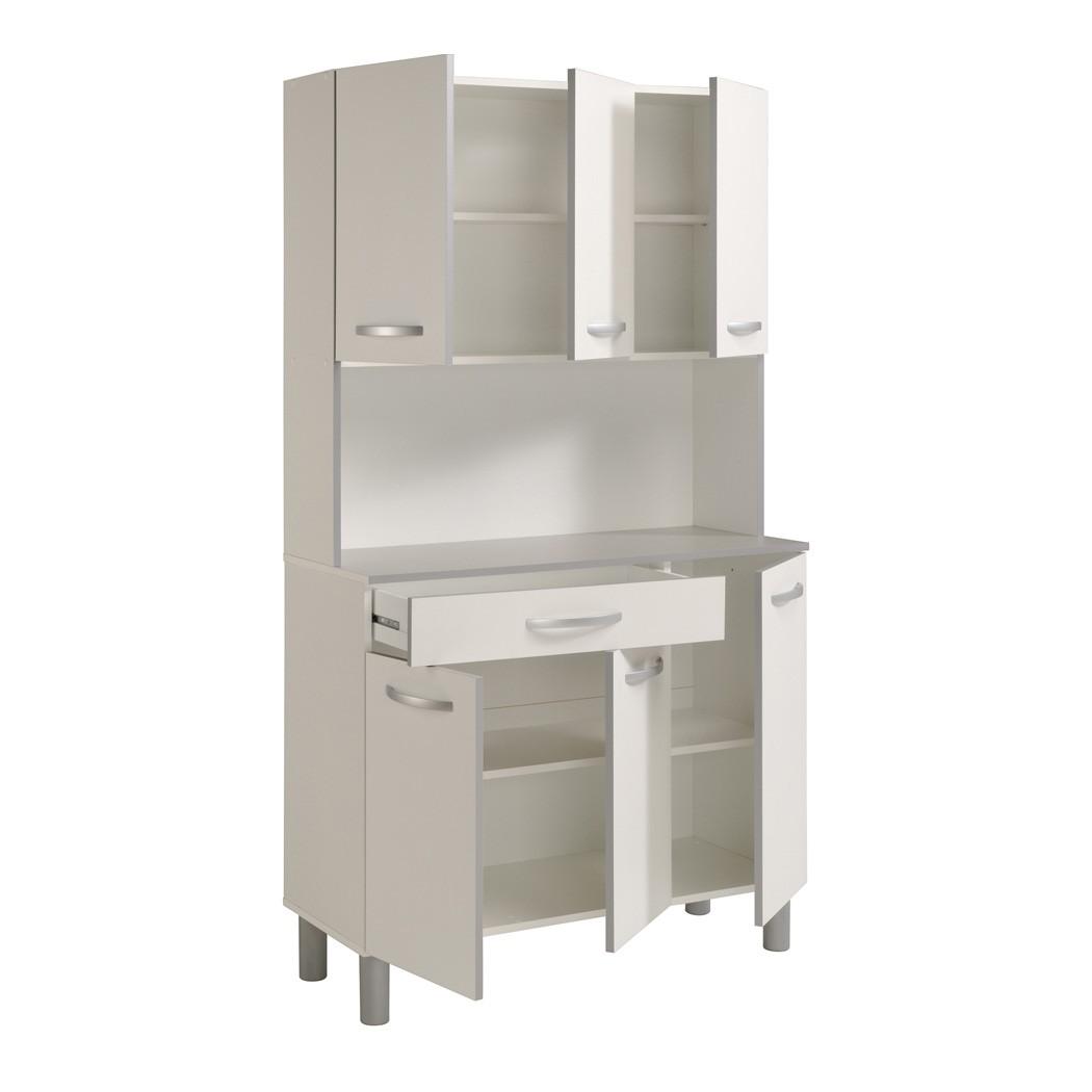 Küchenschrank Weiß Grau 101x185x40 Cm Buffet Buffetschrank