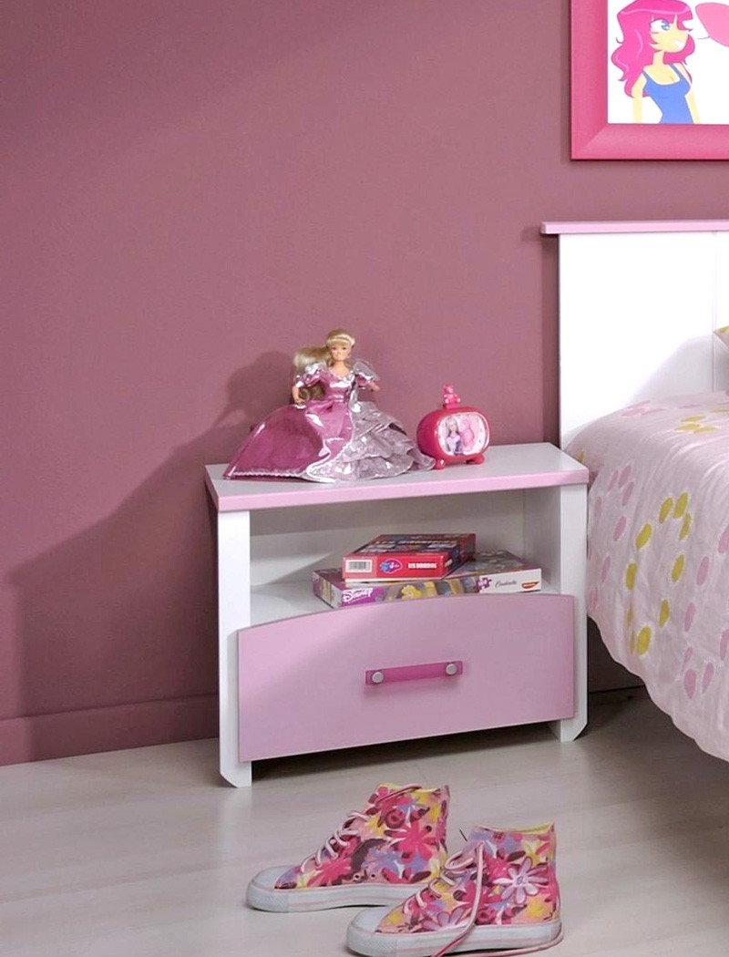 nachttisch 44x44x28 cm wei rosa lackiert nachtkonsole nako kinderzimmer beauty ebay. Black Bedroom Furniture Sets. Home Design Ideas