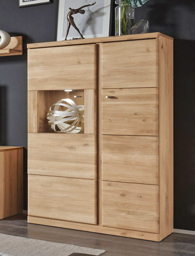 highboard schmal lanciano 90x140x40 cm wildeiche teilmassiv schrank wohnbereiche esszimmer. Black Bedroom Furniture Sets. Home Design Ideas