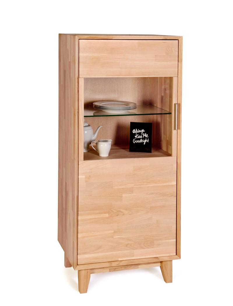 vitrine nevio klein 65x150x45cm links 1 t rig varianten massivholz wohnbereiche wohnzimmer. Black Bedroom Furniture Sets. Home Design Ideas