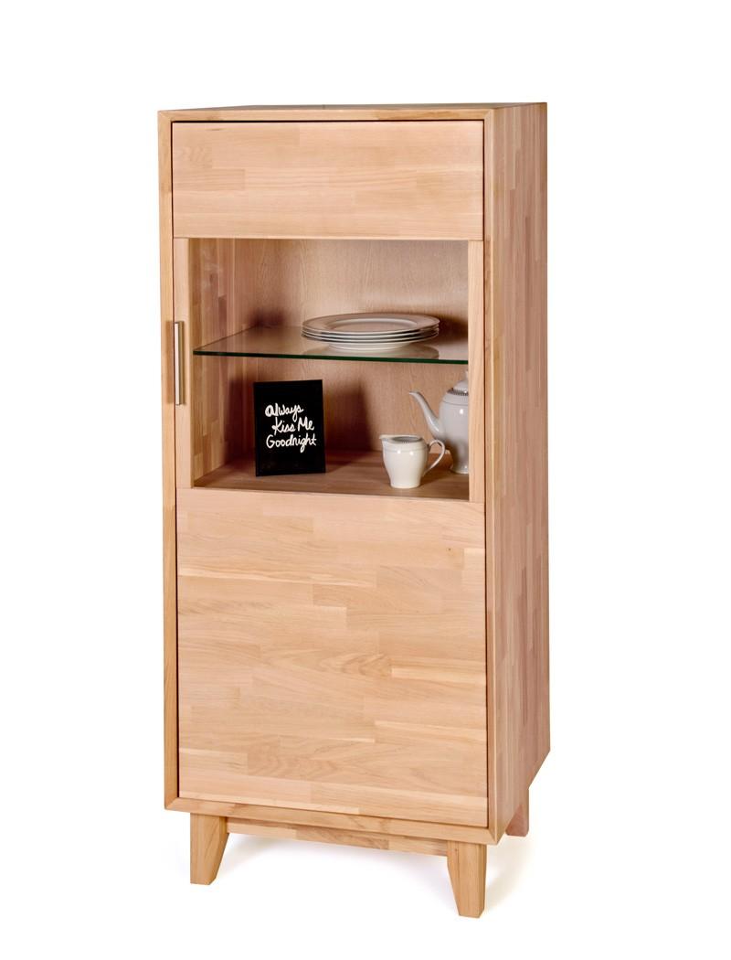 vitrine nevio klein 65x150x45cm rechts 1 t rig varianten massivholz wohnbereiche wohnzimmer. Black Bedroom Furniture Sets. Home Design Ideas
