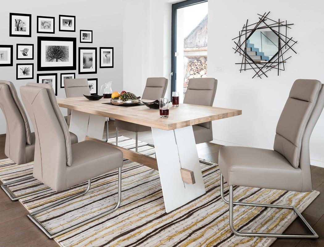 hochwertiger esstisch alban massivholztisch metallwange. Black Bedroom Furniture Sets. Home Design Ideas