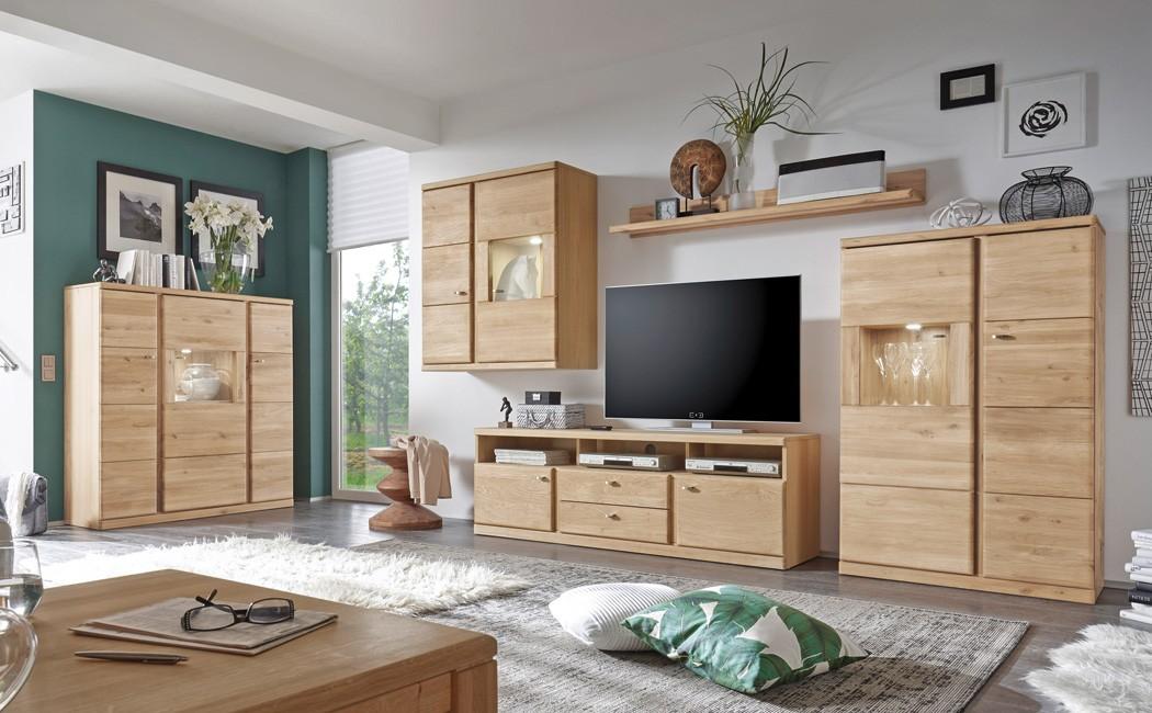 wohnzimmer lanciano 5-teilig wildeiche teilmassiv wohnwand, Wohnzimmer