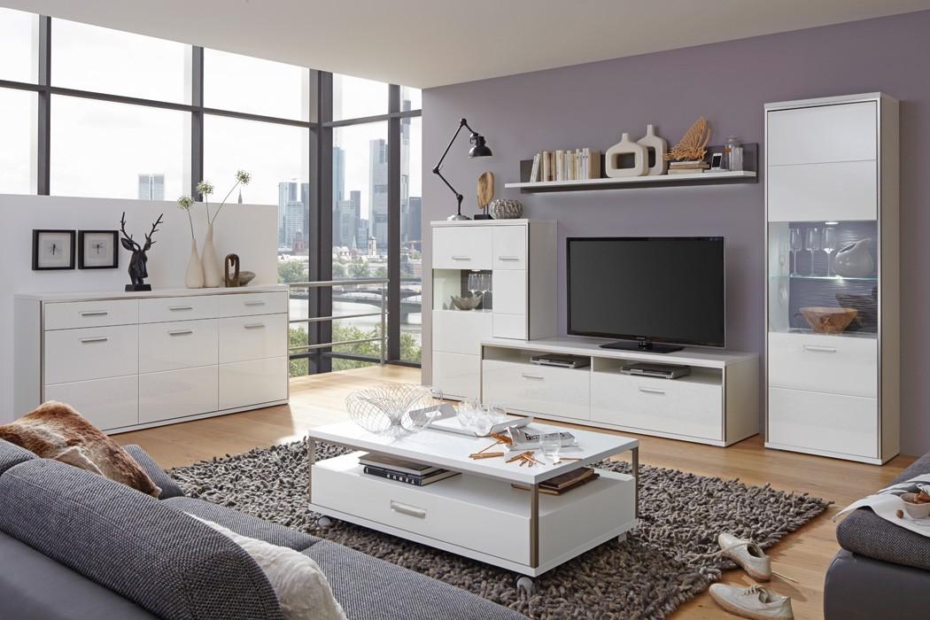 Sideboard travis 1 wei hochglanz 184x89x45 cm anrichte for Hochglanz wohnzimmer