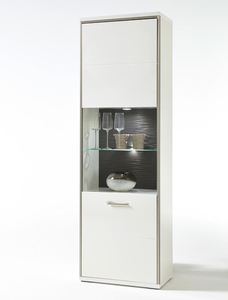 vitrine wei hochglanz 64x201x38 cm glasvitrine wohnzimmer esszimmer travis 4 ebay. Black Bedroom Furniture Sets. Home Design Ideas