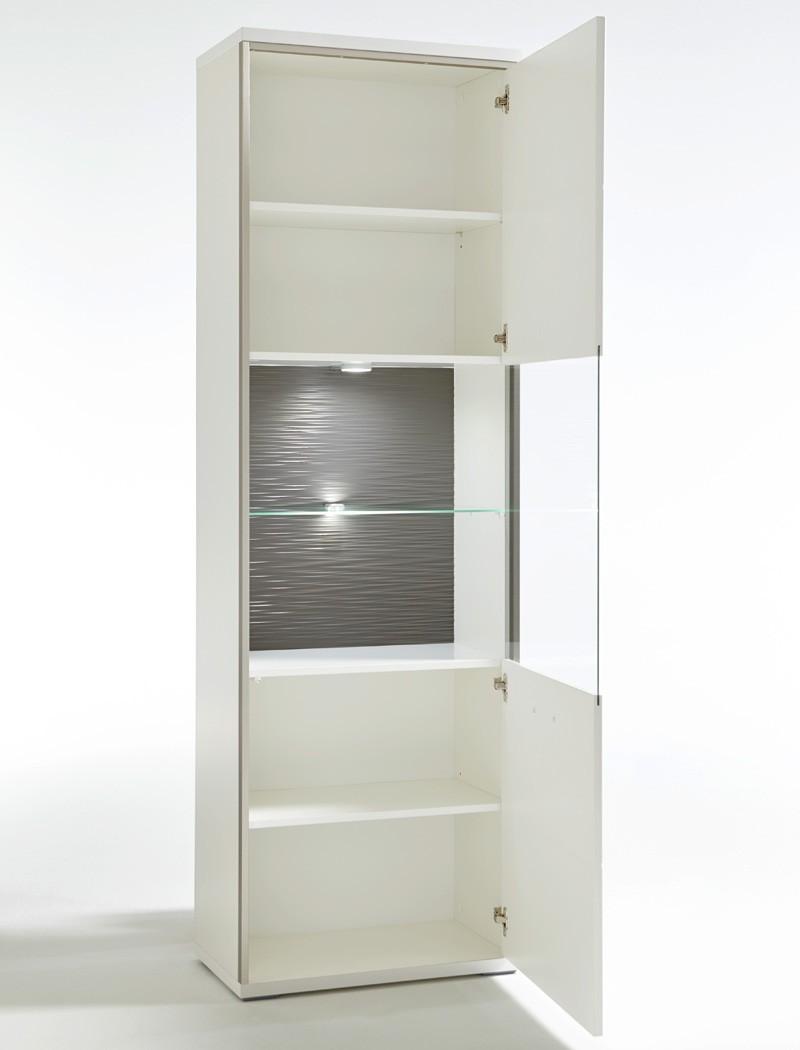 vitrine travis 4 wei hochglanz 64x201x38 cm glasvitrine