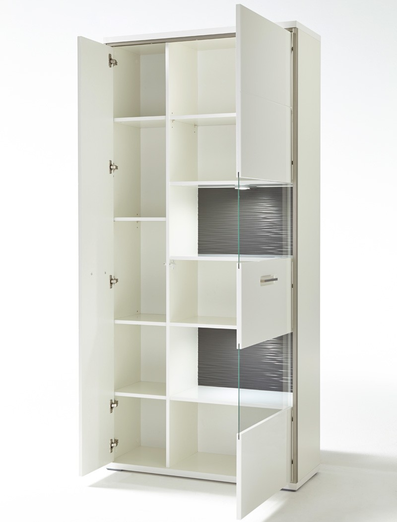 vitrine travis 5 wei hochglanz 94x201x38 cm glasvitrine wohnzimmer wohnbereiche esszimmer. Black Bedroom Furniture Sets. Home Design Ideas