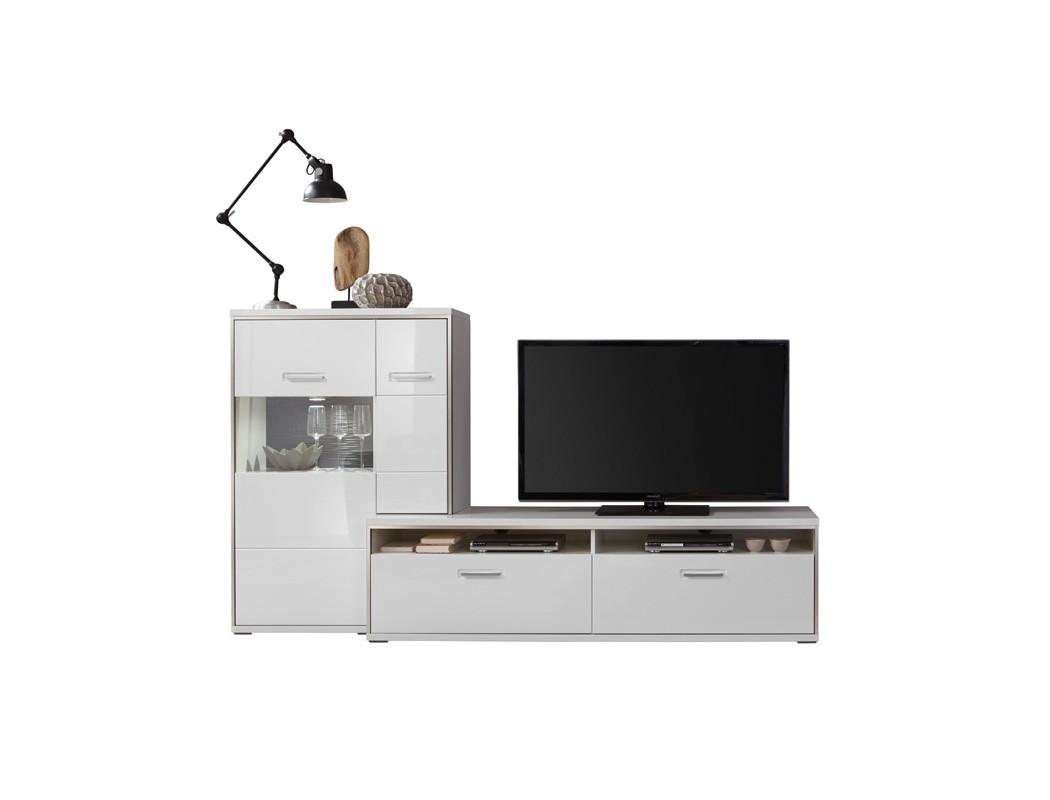 lowboard mit highboard travis 15 wei hochglanz tv m bel. Black Bedroom Furniture Sets. Home Design Ideas